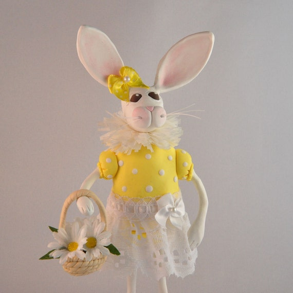 Polymer Clay White Bunny with Spring Daisy Basket