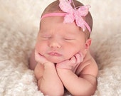 Butterfly Princess Newborn Headband Photo Prop Glitter Butterfly Baby Headband
