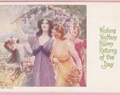 Ca. 1901-1906 Rare May Day Undivided Back Postcard w/ Ladies - 533 - pecanhillantiques