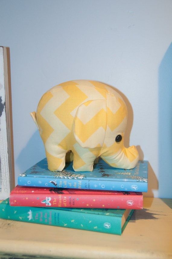 yellow and light yellow 2 tone chevron - elephant stuffed animal / plush