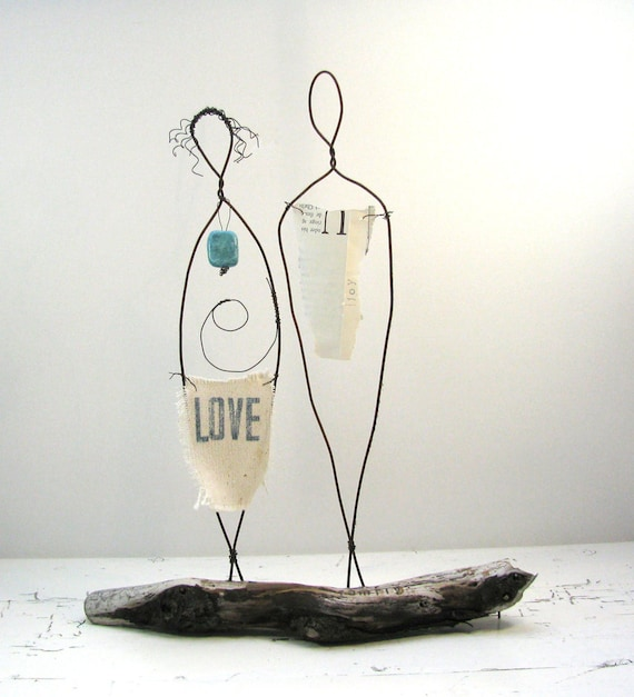 Baby and Couplehood Wire Sculpture - Rustic Baby Shower Gift - Valentines Day Gift - Metal and Driftwood Mixed Media Art