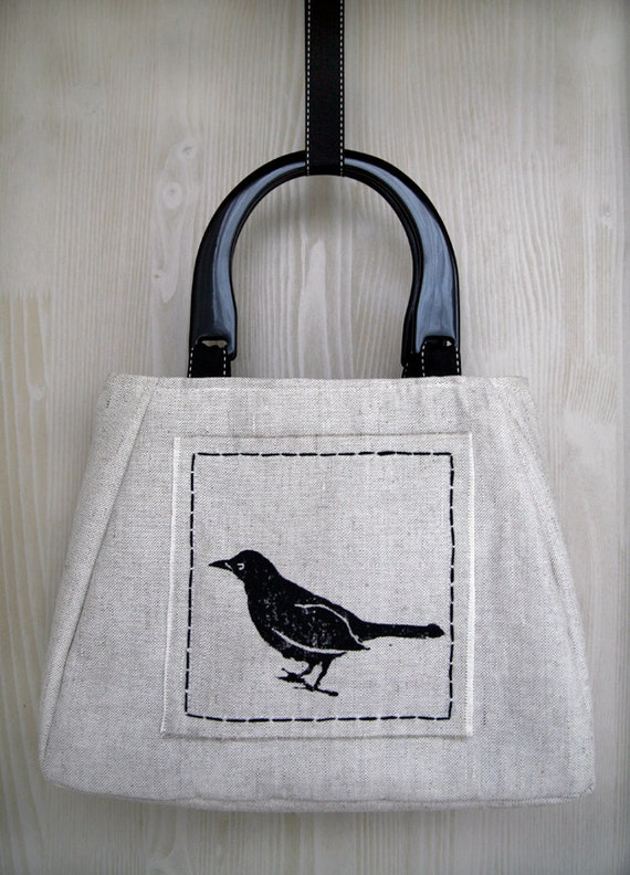 Blackbird hand printed and embroidered linen handbag - summer purse, woodland wedding, nature, bird, one of a kind art