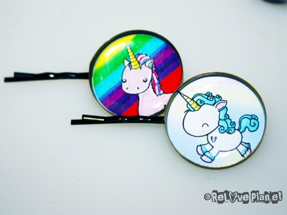 2 Cute UNICORN Hair Pins - kawaii animal hair clip set happy rainbow - ReLove Plan.et