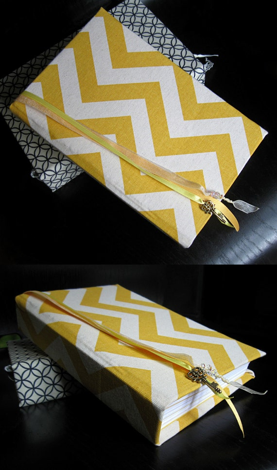 Custom Hand Bound Journal with Yellow and Ivory Chevron Cover, Sewn-In Ribbon Bookmarks, and Gold Key Charm