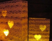 10 Heart Lanterns, Sheet Music, Heart Luminary Bags, Engagement Party, Wedding Decor, Proposals, Music Decorations, Rehearsal Dinner