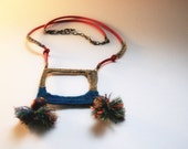 Handmade Tribal-Inspired Boho Color Blocking Square Pendant Beaded Hemp & Suede Lace Pom Pom Necklace