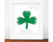 St Patricks Day Baby Footprint Shamrock - Irish Blessing for Baby - Personalized Ireland Art Print - Green St Patricks Day Decoration - PitterPatterPrint