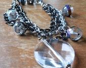 Multi-Strand Bracelet with Big Clear Glass Charm