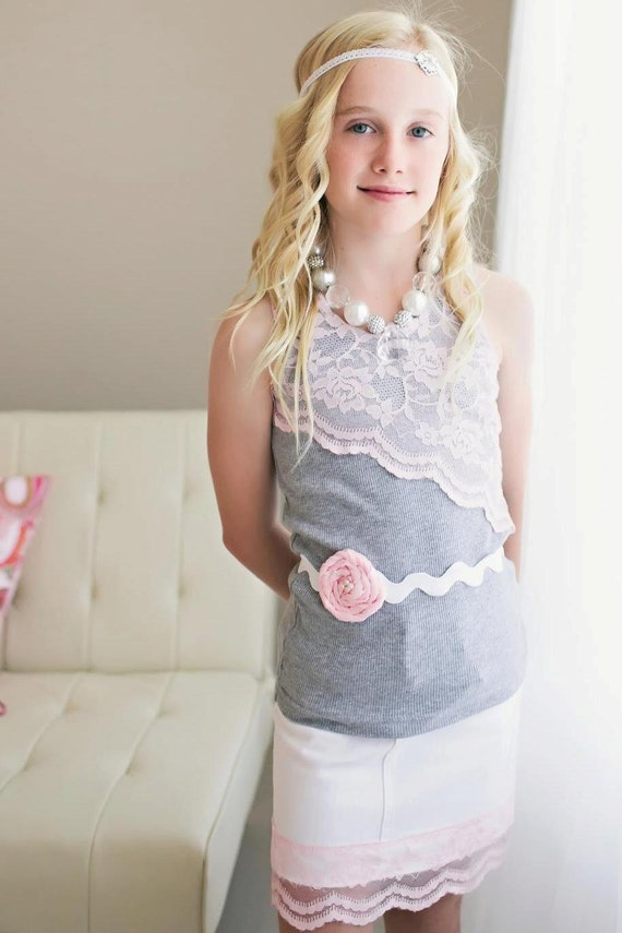Boutique Lace Girls Tank Top - Shabby Chic - Vintage Inspired - Feminine girls top - Girls top - Unique top
