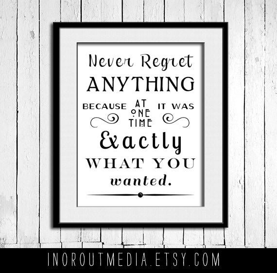 No Regrets  - 11x14 typography quote print wall art on premium matte art paper, Typography poster, Quote Art, Never Regret anything