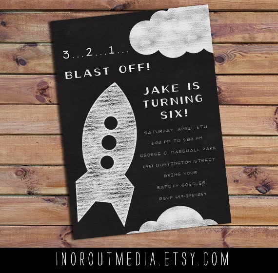 Rocket Ship Chalkboard Birthday invitation - birthday invitations, first birthday card 5x7, rockets, blast off