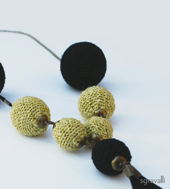 Black And Antique Brass Color Long Necklace. Hand Knitted. Chain. Suede Tassel. Handmade. ROISIN Necklace.