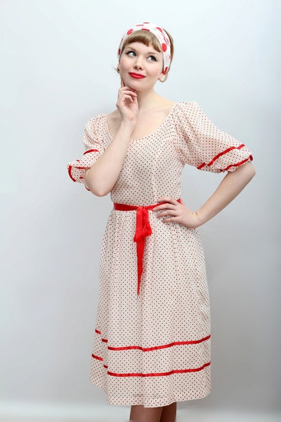 1960's swiss dot and ribbon dress from Hopscotch & Soda