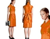 silk wrap dress in kimono style METALLIC ORANGE colored - KAYMUTO