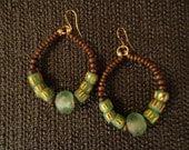 Green Krobo Hoops - African Hoop Earrings, Ethnic Earrings, Hoop Earrings