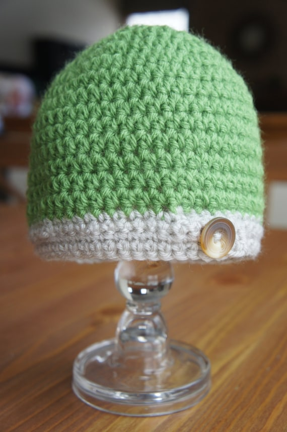 Green and Natural Button Tab Baby Hat