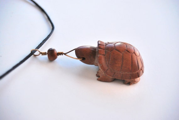 Tortoise necklace / pendant carved from red mangrove / driftwood