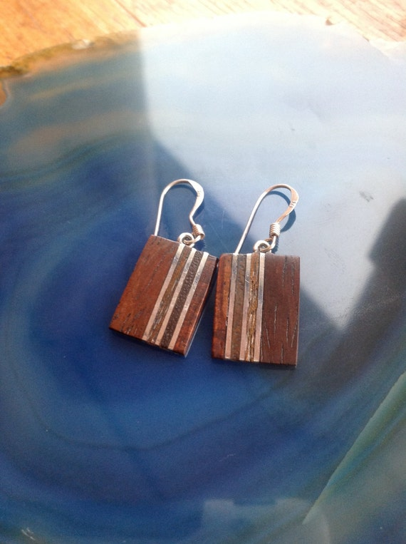 Sterling Silver and Mahogany Earrings RubeeBlue on Etsy