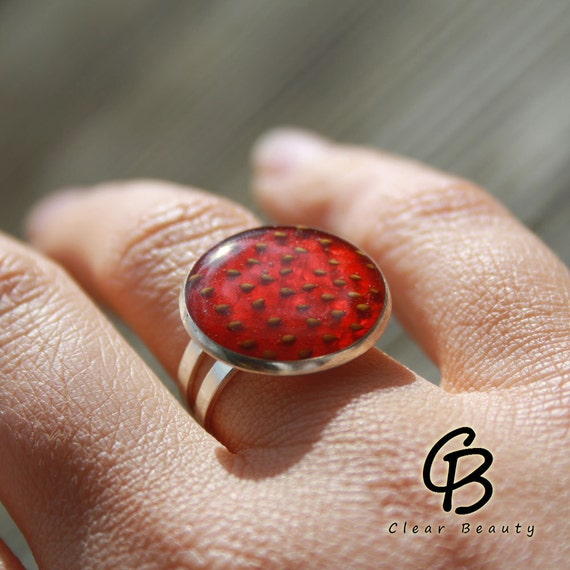 Strawberry Silver Ring 18 MM - Adjustable Size S3