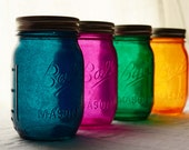 Stained Glass Mason Jars, Set of 4 - Wild Summer Nights