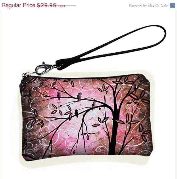 Wallet Wristlet Pink Cherry Blossom Birds MadArt
