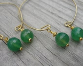 Balanced. Emerald Green Jade Yellow Gold Brass Hoop Earrings