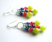 Colorful Jade Earrings, Neon Dangle Earrings, Sterling Silver Lime Pink Earrings