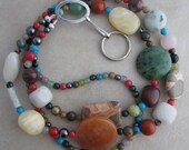 Multi Gemstone and Silver Beaded Badge ID Lanyard Holder