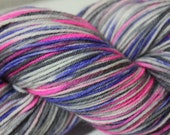 Hand Painted Sock Yarn - Punky Girl - Hot Magenta, Orchid, Soft Black, Silver Gray, Natural - MumMumsDestash