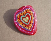 Handpainted Multicolored Heart on Waterworn Stone Pin - geminiriverrocks