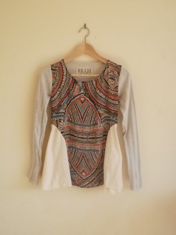 XS/S cream and tribal print upcycled long sleeved top - extra small / small