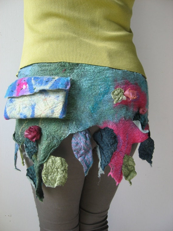 Felted Hip Belt with Purse, Bag  - Flower Faerie