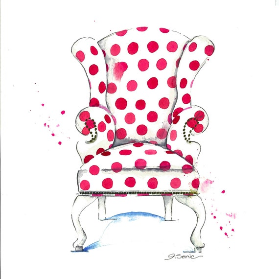 Pink Polka Dot Chair, Pink Chair Print, Pink Chair Art, 14x14