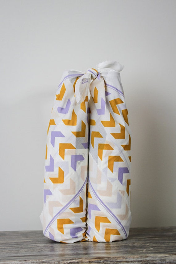 Follow the Arrow - Mustard and Purple - Fabric Gift Wrap - Furoshiki