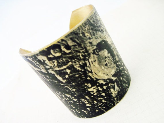 Take Pity. Thick brass cuff with resined antique book plate.