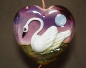 Beautiful Swan on a Lake Handmade Glass Lampwork Bead Heart
