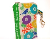 Fabric Gadget Pouch, Cell Phone Case, Zipper Pouch I Touch, I Phone, Camera Case - Blue Bird and Flowers - handjstarcreations