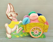 Vintage Beistle Easter Bunny and Cart with Honeycomb Eggs Table Decoration - JustVintage2