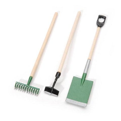 3 miniature wood metal assorted garden tools fairy for Miniature garden tools