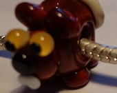 Handcrafted Artisan Lampwork Critter Glass Euro Charm Bead Beaver