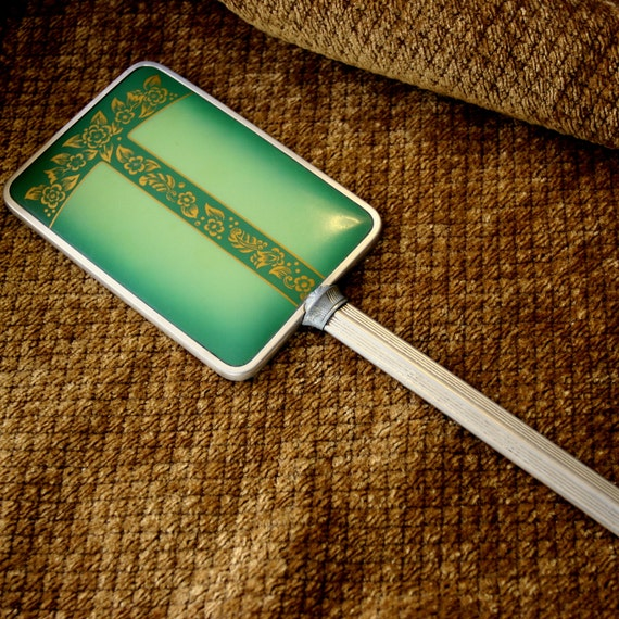 Antique Vintage Art Deco Green and Gold Celluloid Hand Mirror Beveled Mirror