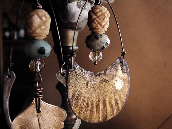 Brave - assymetrical earrings - artisan made - hammered metal - kiwi jasper - eco friendly
