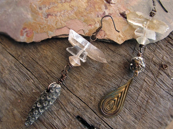 such wonders - mismatched earrings - quartz crystal stacks - seedpod - rustic primitive