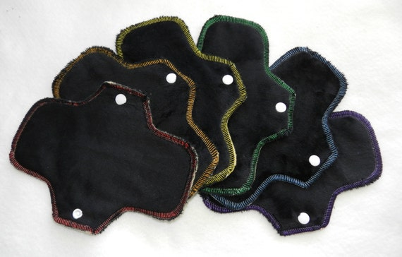 Black Rainbow Set of 6, 8 Inch minky pantyliners by MotherMoonPads