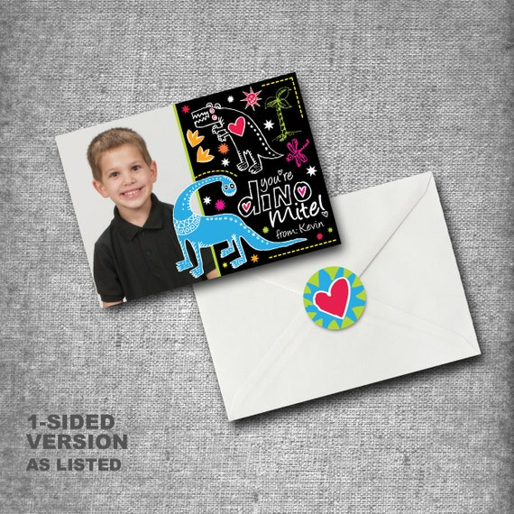 Personalized Kids Valentines Day Cards - Set of 40 with seals - DINOMITE with photo