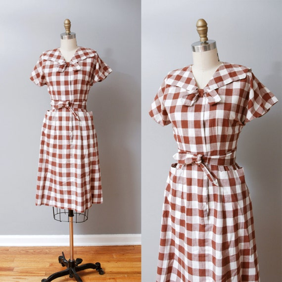 1940s Dress - Maroon Plaid 40s Day Dress with Ascot Bow
