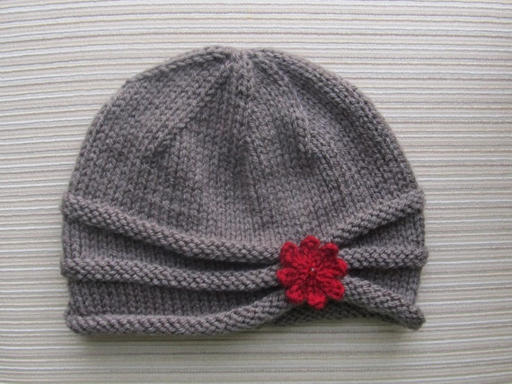 Number 87 PDF Knitting Pattern Rolled Brim Hat in Size Adult
