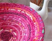 Bright Pink Gypsy - Round Coiled Bohemian Basket - YellowViolet