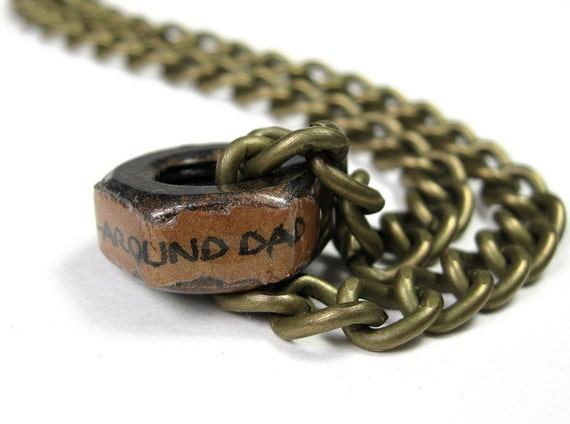 Industrial Chic Hex Nut Necklace, Steampunk Jewelry, Antiqued Brass, Metal Jewelry, Rugged, Masculine, Gifts for Dad, Best Dad