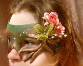 Nature Brown Copper Roots greenman Day mask - magpiesmasquerie